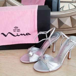 Nina silver evening shoes